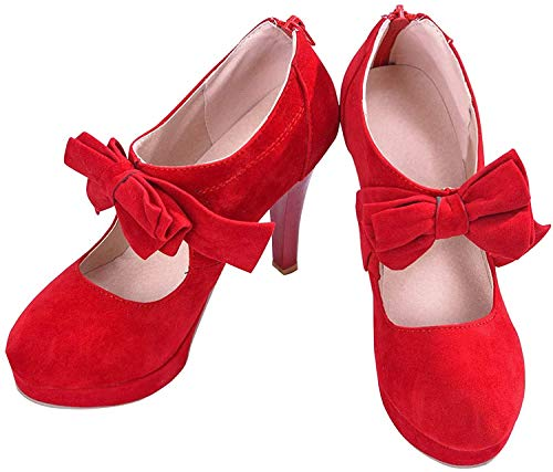 Damen Pumps Mary Janes Blockabsatz High Heels T-Strap Velours Rot EU 46