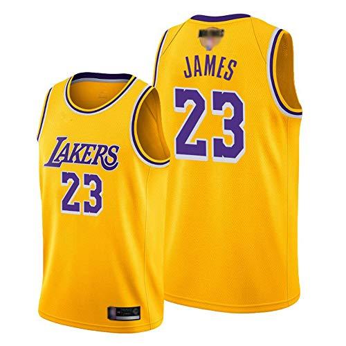 SHR-GCHAO Jersey De Baloncesto para Hombre, Los Ángeles Lakers # 23 Lebron James Jersey - Baloncesto De La NBA Bordado Bordado Transpirable Flojo, Camisa De Chaleco Sin Mangas,Amarillo,L(175~180cm)