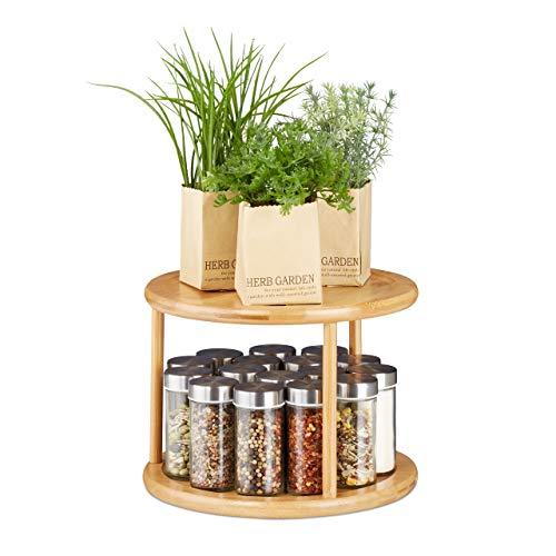 Relaxdays Drehregal Küche, Gewürzkarussell 360°, kleines Parfüm Regal, Schrankrondell HxD 19,5 x 24,5 cm, Bambus, natur