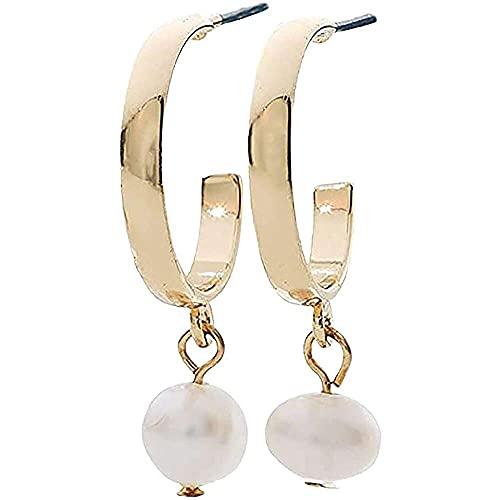 junmo shop Pendientes de mujer en forma de C, perlas de aleación, regalos para mujeres, perlas de agua dulce, pendientes para niñas, encantadores accesorios de joyería elegantes de bajo llave
