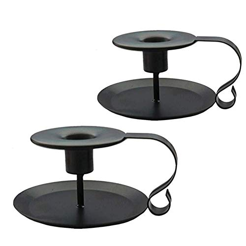 Candlestick Holders Black Candle Holder,Wrought Iron Taper Candle Holder,Iron Candle Holders (Black, 2)