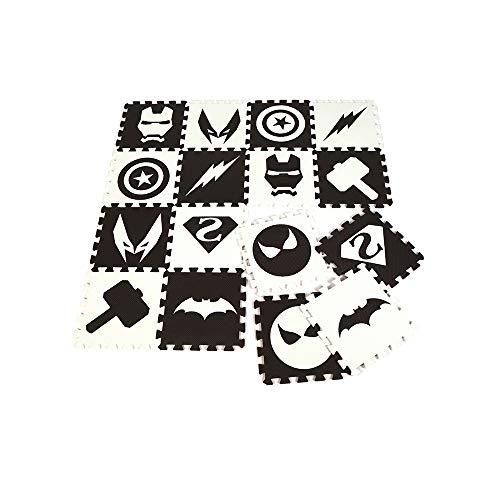 HB.YE Alfombra puzzle multicolor para bebé, espuma puzzle, alfombra de juego para niños, alfombra de juegos, alfombra de suelo para dormitorio, yoga, gimnasia, 30 x 30 cm (negro y blanco, 16 piezas)