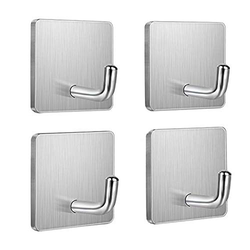 Budding Joy Adhesive Hooks Heavy Duty Stick on Wall Door Cabinet Stainless Steel Towel Coat Clothes...