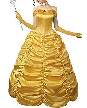 GIKING Belle Princess Adult Dress Hallowwen Party Cosplay Ball Gown Fancy Dresses Yellow XL