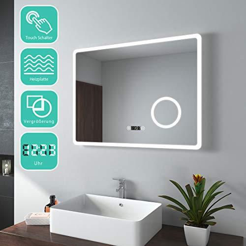 EMKE 80x60cm LED Badspiegel Badezimmerspiegel mit Beleuchtung Lichtspiegel Wandspiegel mit Touchschalter, Beschlagfrei, Uhr, 3-Fach Vergrößerung