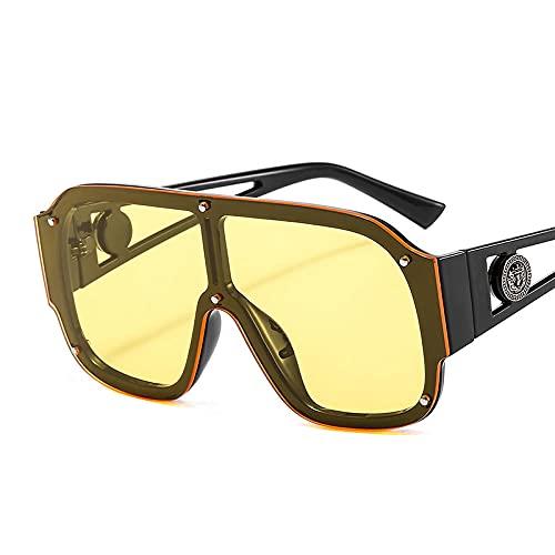 Gafas de Sol Moda Mujer Hombre Gafas De Sol De Gran Tamaño Vintage Mujer Hombre Cool Gafas De Sol Rectangulares C4
