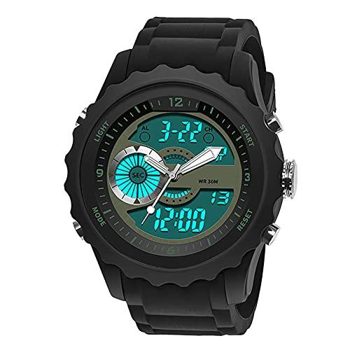 WTYU Reloj - Reloj electrónico de Moda de Moda Multifuncional para Hombres Deportivos al Aire Libre, Impermeable y a Prueba de Golpes, Correa de Silicona, Reloj Digital d G