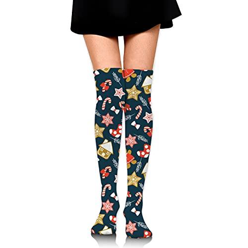 Lindo dibujos animados galletas mujeres botas calcetines transpirable sudor largo rodilla calcetines rodilla calcetines muslo botas altas medias unisex talla única