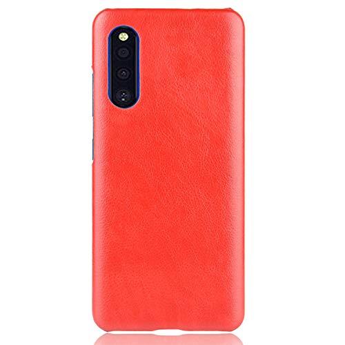 Samsung Galaxy A41 SC-41A ハードケース カバーPU レザー調 ギャラクシー A41 シンプル ハードケース アンドロイド おしゃれ スマートフォン/スマフォ/スマホケース/カバー(レッド)