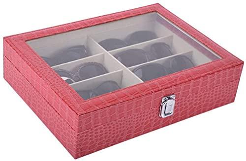 X&J Organizador de gafas de piel sintética con 8 ranuras para almacenamiento y gafas de sol, color rojo