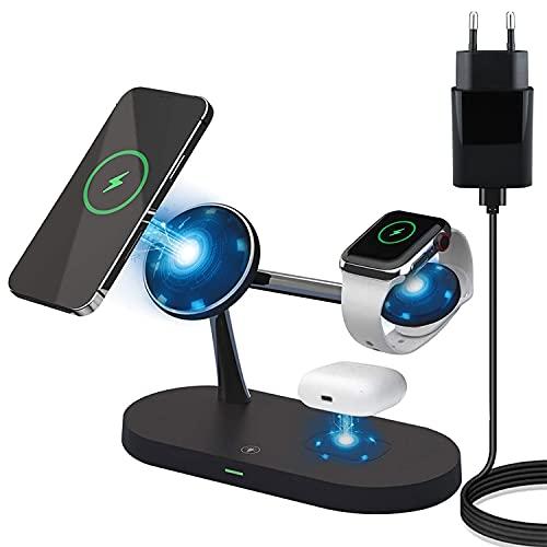 Cargador inalámbrico 5 en 1, estación de carga inalámbrica Qi, 15 W, compatible con Airpods Pro/Galaxy Buds, serie iWatch 5/4/3/2/1, iPhone 12 11 Pro Xs Max Xr X 8 Plus Samsung Galaxy S10 (negro)