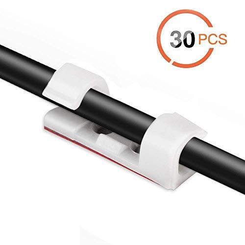 AGPTEK 30x Organizador de Cables con Tornillos y Adhesivo, Clips de Cables...