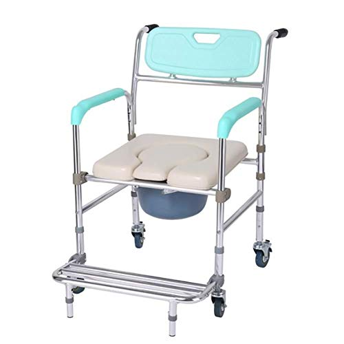 Bathroom Wheelchairs RRH Bedside Commodes Wheelchair Foldable Toilet Chair with Silent Small Wheel Mobile Shower Toilet Seat Waterproof Automatic Wheelchair