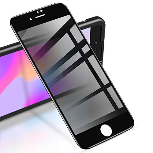 """RIWNNI [2 Stück] Sichtschutz Panzerglas für iPhone 8 Plus/7 Plus (5.5\""""), Anti Spy Panzerglasfolie, Blickschutzfolie Displayschutz Glas Folie Full Screen Schutzfolie mit Positionierhilfe - Schwarz"""