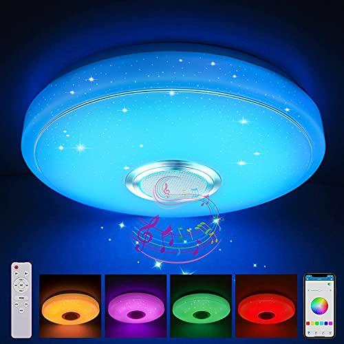 Lámpara LED de techo de 36 W, regulable con altavoz Bluetooth, mando a distancia y control por aplicación, cambio de color, reproducción de música, habitación de los niños, salón