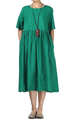 abito donna taglie forti estivo Mallimoda Donna Estate Vestito Scollo Rotondo Manica Corta Lungo Abito Verde XL
