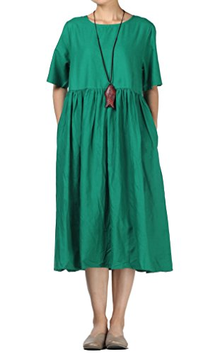 Mallimoda Damen Leinen Sommer Kleider Rundhals Kurzarm Midi Kleid mit Doppelte Taschen Grün M