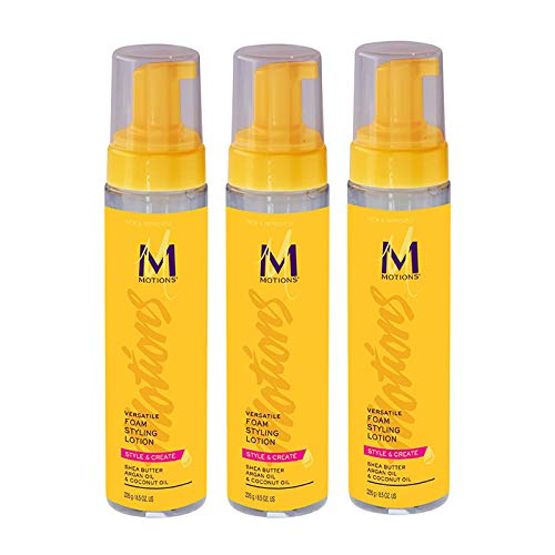 Motions Style and Create Versatile Foam Styling Lotion (3 Pack) - For Use on All Hair Types, Lightweight Formula, Contains Shea Butter, Argan Oil, Coconut Oil, 8.5 oz