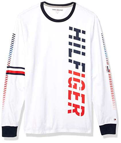 Tommy Hilfiger Men's Sport Long Sleeve Graphic T Shirt, Tommy White, MD