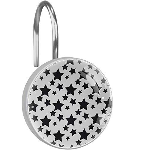 AITAI Ganchos para cortina de ducha, diseño de estrellas negras con fondo blanco, a prueba de óxido, 12 unidades