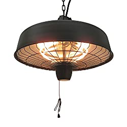 Outsunny Adjustable Power 1000/2500W Infrared Halogen Electric Light Heater, Ceiling Hanging Mount -Black
