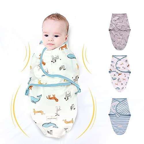 Miracle Baby Swaddle Neonato,Sacco Nanna per Bebè,Sacchi Nanna per Bambino,Copertina Avvolgente Per Fasciature,Coperta Regolabile In Morbido Cotone - Set di 3(S)