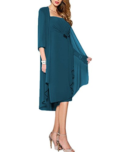 HUINI Brautmutter Kleider mit Jacke Wadenlang Chiffon Perlen Hochzeitskleid Abendkleid Ballkleid Festkleider Tintenblau