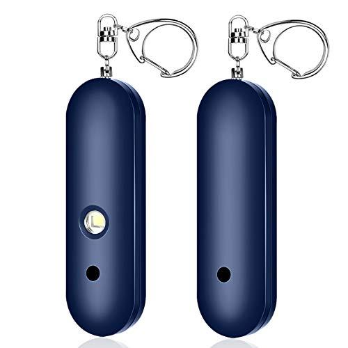 1 Pack Persönlicher Alarm, Security Alarm, 130 dB Personal Alarm Keychain with LED-Licht Alarm Schlüsselanhänger Siren für Frauen, Kinder, ältere Menschen (Blau)