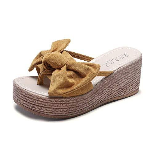 Unisex slippers voor volwassenen,Zomerstrik pantoffels dames, met een platte neus buiten het platform-yellow_38