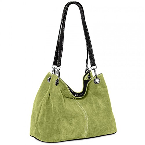 Caspar TL621 klassische Damen Wildleder Handtasche, Farbe:apfelgrün