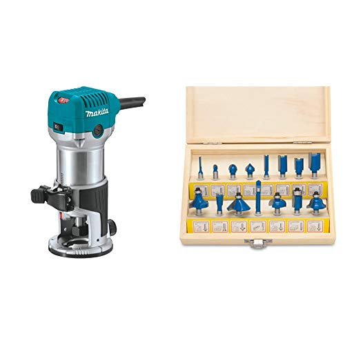 Makita RT0701C 1-1/4 HP Compact Router & Hiltex 10100 Tungsten Carbide Router Bits | 15-Piece Set