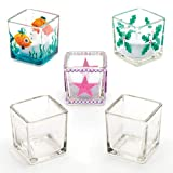 Baker Ross Square Glass Candle Holders, for Children to Paint & Personalise with Glass Paints and Pens, Perfect for School Work, Home Crafts, Craft Group Activities and More (Pack of 6)
