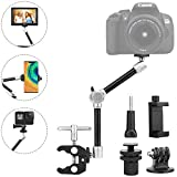 TOAZOE 11' Adjustable Robust Articulating Friction Magic Arm Clamp Holder Mounts Kit for DSLR/Mirrorless/Action Camera/Camcorder/LCD Monitor Video Vlog Rig w/Smartphone/iPhone/GoPro/Arlo etc