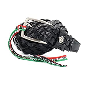 [OROBIANCO] イタリア製 [メッシュレザー] BELT COWHIDE OSCAR [オロビアンコ] ベルト メンズ ビジネス 本革 紳士 男性ベルト カジュアル 大きいサイズ 太身 細身 ブランド [並行輸入品] (NERO/ブラック)