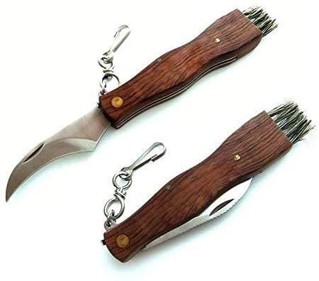 Pilzmesser/Taschenmesser mit Bürste/Pinsel, klappbar, rostfrei, mit Holzgriff