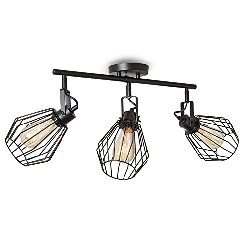 ENCOFT Cage Iluminación de Techo de Interior Giratorio, Lámpara de Techo en Metal, Lámpara de Pared Industrial (3pcs Bombillas, Negro)