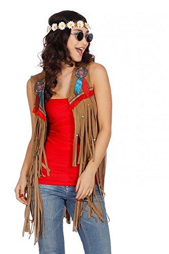 shoperama Fransen-Weste in Wildleder-Optik für Hippie und Indianerin Damen Kostüm 70er Jahre, Größe:M