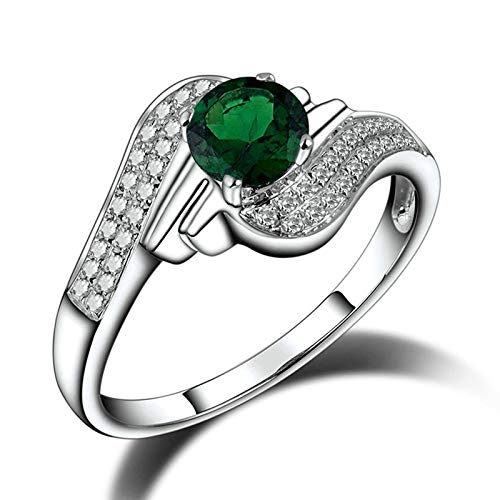 Beydodo Anillo de Compromiso Para Mujer,Anillos Mujer Oro Blanco 14 Kilates Plata Verde Ala con Redondo Tsavorita Verde 0.59ct Diamante 0.32ct Talla 8(Circuferencia 48MM)