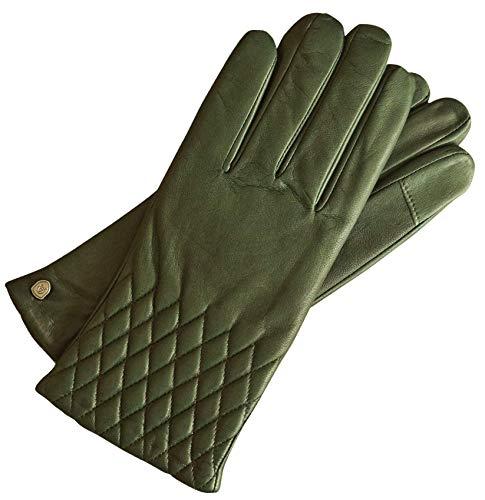 AKAROA ESTD 2019 Lederhandschuhe Damen ISA, italienisches Haarschafleder, Touchfunktion, Strickfutter aus 50% Kaschmir und 50% Wolle, grün L