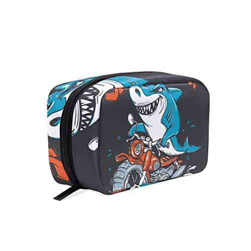 Kosmetiktasche mit Reißverschluss Lustige Hai Reiten Motorrad Kupplung Reise Aufbewahrungstasche Organizer Fall für Frauen Make-Up Tasche Tasche