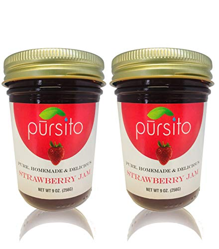 Pursito Homemade Delicious Real Strawberry Jam & Spread for Bread, Cheese, Snacking and Recipes 9 ounces Pure Vegan Natural No High Fructose Corn Syrup Pack of 2