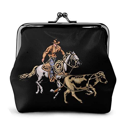 Cowboy Horse Rider Vintage Mujeres Exquisita Hebilla Monedero Cartera Moda Efectivo Tarjetero Bolso de Mano
