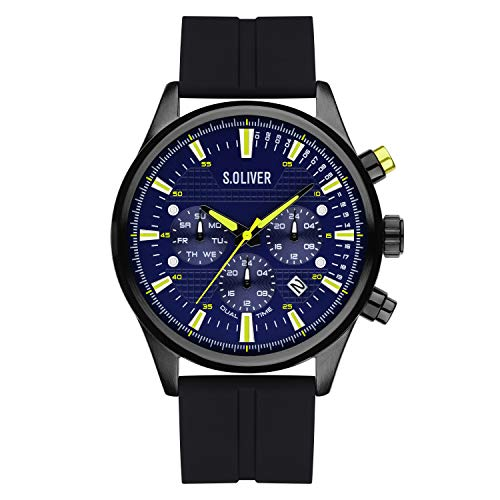 s.Oliver Time Herren Analog Quarz Uhr mit Silikon Armband SO-4182-PM