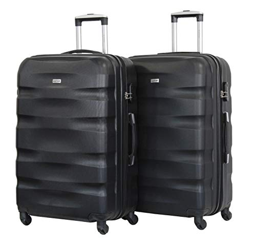 Juego de 2 grandes equipajes de 75 cm – ALISTAIR Fly – ABS ultraligeros y resistentes – 4 ruedas – Marca francesa, Negro (Negro) - 1507- Lx2 - Noir-Noir