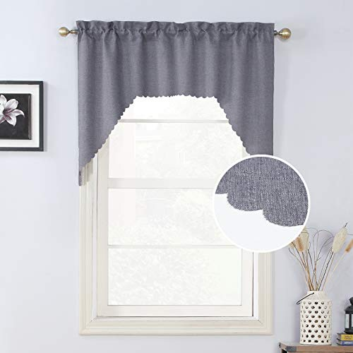 Rama Rose Grey Burlap Look Swag Curtains Rustic Soft Rod Pocket Kitchen Valance Curtain Panels for Kitchen Window 38 Inch Length, 2 Panels