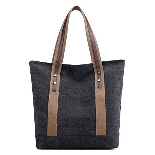 Price comparison product image Women Top Handle Satchel Handbags Canvas Shoulder Bag Tote Purse (Black)
