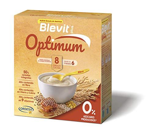 Blevit plus Optimum 8 Cereales con miel, elaborada con trigo integral, avena, triticale, arroz, espelta integral, maíz, centeno y cebada y un 5% de miel. 1 unidad 400grs. A partir de los 6 meses