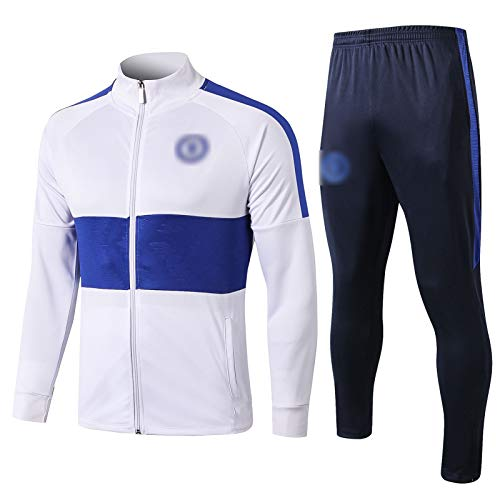 OJN 19-20 Chelsea Langarm Training Anzug Fußball Geschenk Wettbewerb Anzug Herren Top + Hosen Trainingsanzüge Fußballmannschaft Uniform (S-XXL) White-S