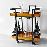 Biblioteca DD Home Dining Car/Trolley/Wine Cart Retro Industrial Style Aparador Madera Sólida Multifuncional Rack De Cocina
