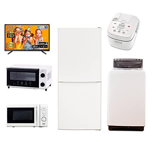 山善(YAMAZEN) 新生活応援セット 家電セット 一人暮らし 新生活家電 6点セット 新品 (106L冷蔵庫 5.0kg洗濯機 電子レンジ 3合炊き炊飯器 オーブントースター 43型テレビ) ホワイト 50Hz東日本